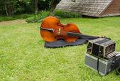 Vintage folk instrument bass accordion ourtdoor  — Stock Photo