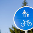 Bicycle and pedestrian lane road sign in blue — Stock Photo #47478663