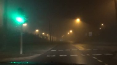 Fog blurry light car — Stock Video