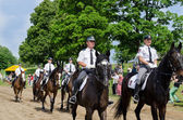 Ranger police riders show in city horse festival  — Stock Photo