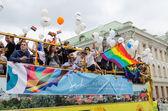 Open bus participants Baltic pride gay parade  — Stock Photo
