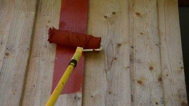 Rulle pensel färg vägg — Stockvideo