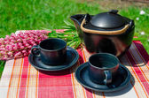 Close up black clay tea set and lupine aoutdoor   — Stock Photo