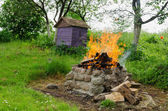 Fireplaces ease burn a pile of dry branches  — Stock Photo
