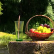 Grape peach fruits and glass with champagne cider on millstone — Stock Video #51178857
