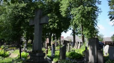 Women visit close people in cemetery — Vidéo