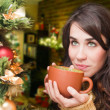 Young woman relaxing at home. Christmas time. Beautiful girl drinking tea at home. — 图库照片