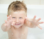 Adorable bath baby boy — Stock Photo