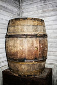 Old antique decorative wood whisky barrel — Stock Photo