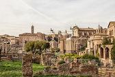 查看随罗马论坛的废墟 — 图库照片