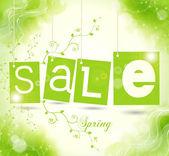 Tag vendita verde con ombra — Vettoriale Stock