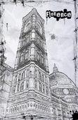 大教堂圣塔玛丽亚圣母百花 — 图库矢量图片