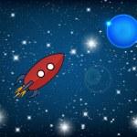 在空间中的复古火箭 — 图库矢量图片 #35295229