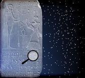 Egypt hieroglyphs on the old wall — Stock Vector