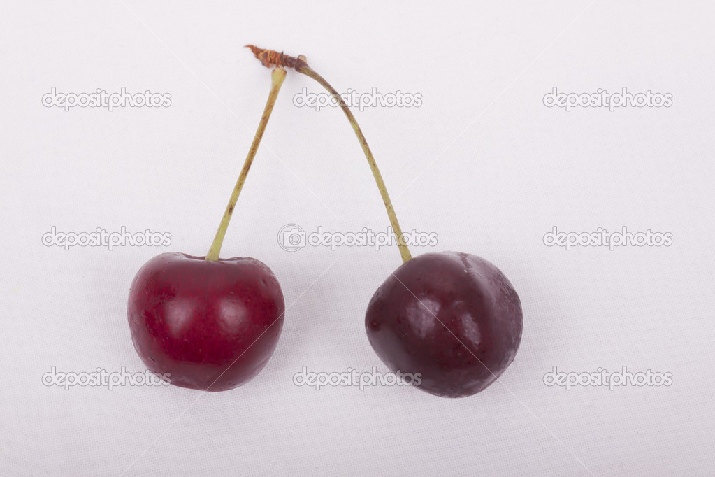 Photo of sweet cherries on a white background — Stock Photo #12819448