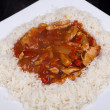 Sweet and sour chicken with rice. — Stock Photo