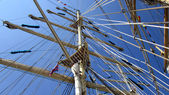 Tall ships masts with rigging — Stock Photo