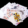 Playing cards and money — Stock Photo