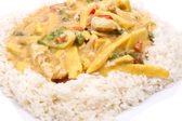 Coconut chicken with rice — Stock Photo