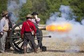 Civil War Cannon Fireing — Stock Photo
