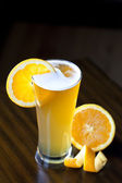 Belgium Wheat Ale With Orange Slice — Stock Photo