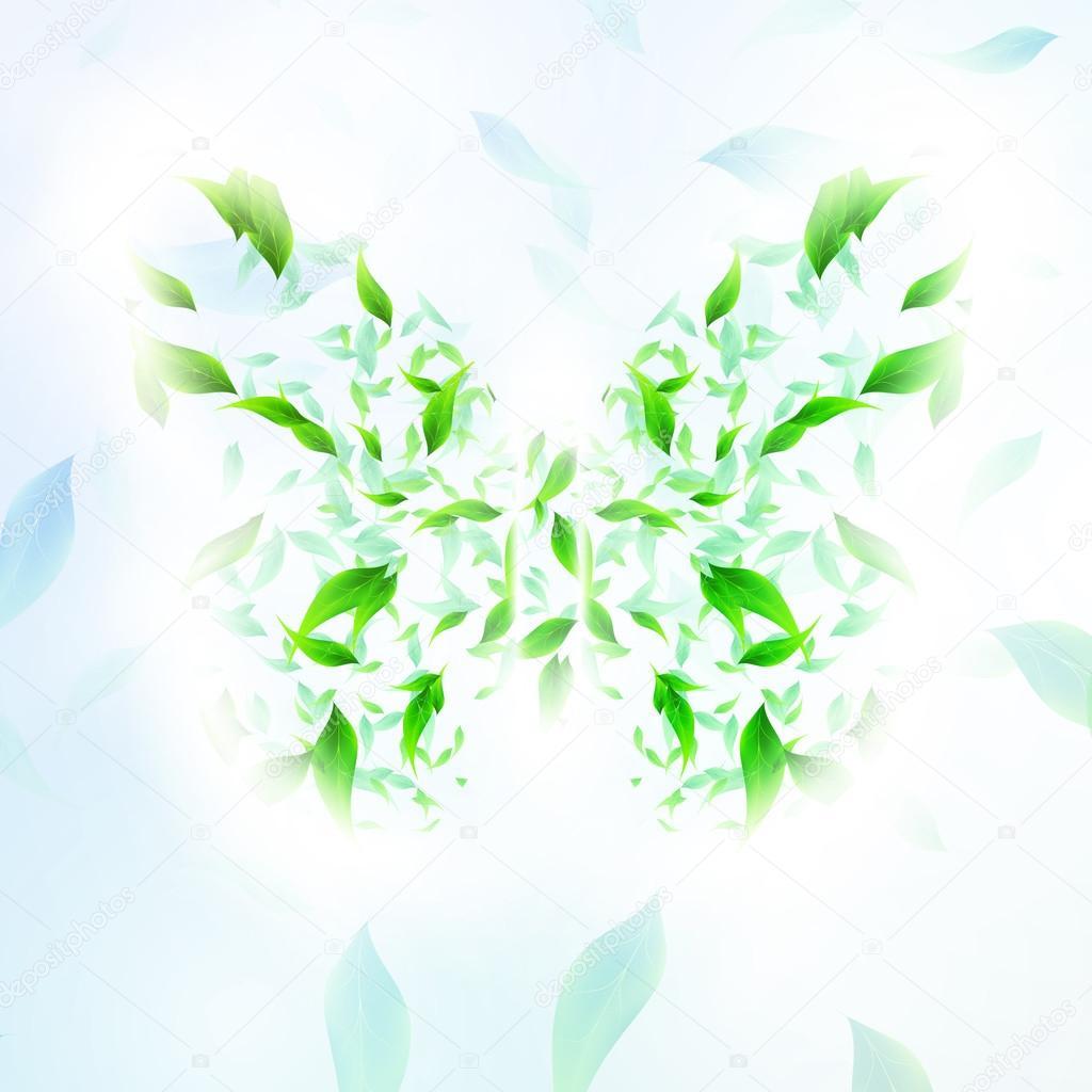 叶形成一个蝴蝶抽象形状,季节矢量图 eps10 — 矢量图片作者 majcot