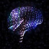 Neon brain — Stock Vector