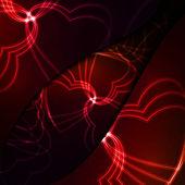 Neon hearts, futuristic illustration. — Stock Vector