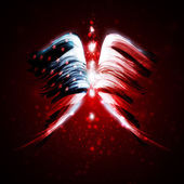 Abstract angel wings with american flag — Stock Vector