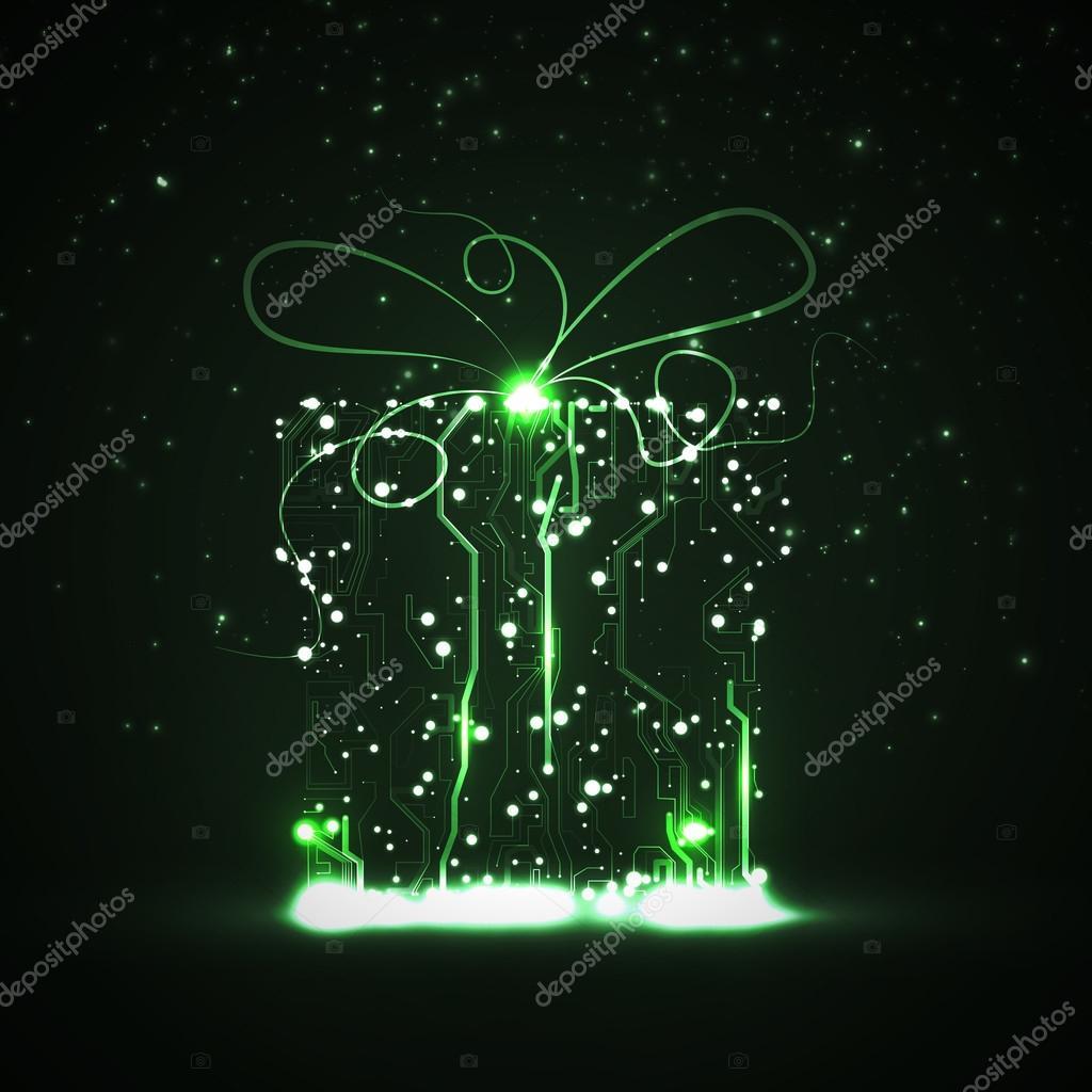 电路板背景, 技术插图, 圣诞礼物– 图库插图