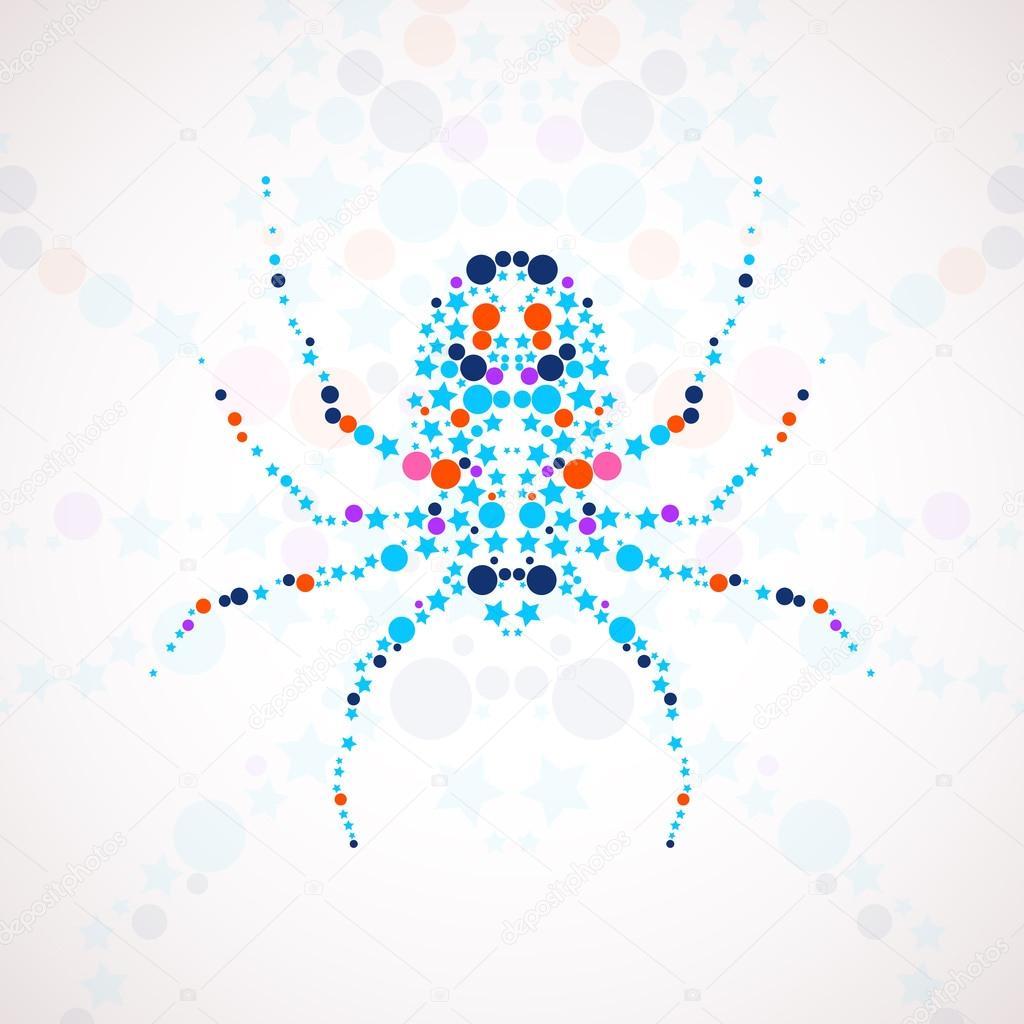 Cartone animato ragno astratta — vettoriale stock