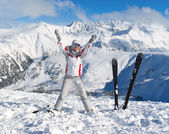 Cheerful skier on the top of mountain Pirin — Stock Photo