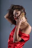 Signora in rosso — Foto Stock