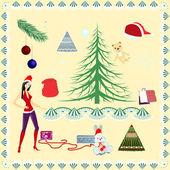 クリスマス セット — ストックベクタ
