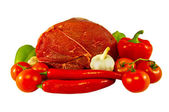 The fresh beef and paprika — Stockfoto