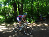 Bicycle race in the forest — Stock Photo