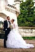 Bride and groom posing near castle — Stock Photo