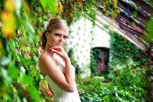 Romantic portrait of the beautiful bride — Stock Photo