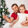 Happy smiling little girl  with father — Stock Photo