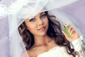 Portrait of beautiful bride. Wedding dress. — Stock Photo