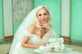 Portrait of pretty bride looking at camera — Stock Photo