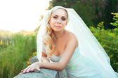 Portrait of pretty bride looking at camera — Stock Photo