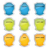 Set di scudi metallici speciali cromo — Vettoriale Stock