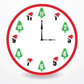 Special clock with christmas design — Vetor de Stock