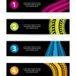 Banners with tire track design — Stock Vector