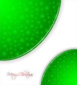 зеленый новогодний фон со снежинками — Cтоковый вектор