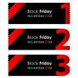 Special red paper tickets with black friday text — Stock Vector