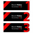 Stock Vector: Special red paper tickets with black friday text