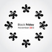 Special black friday background with floral design — Stock Vector