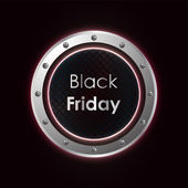 Black friday plasma background with metallic design — Stock Vector
